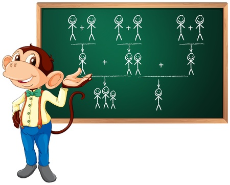 Illustration of a monkey presenting Vector