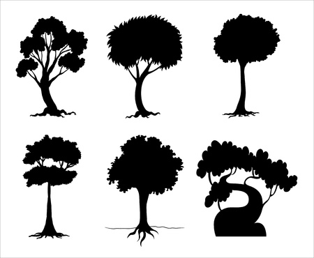Illustration of tree and plant silhouettes Stock Vector - 13930784
