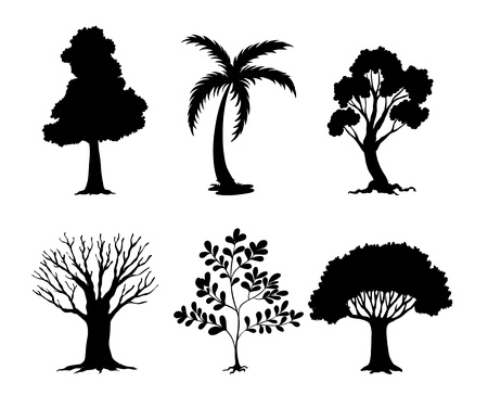 silhouetted: Illustration of tree and plant silhouettes Illustration