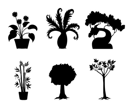 tall tree: Illustration of tree and plant silhouettes Illustration
