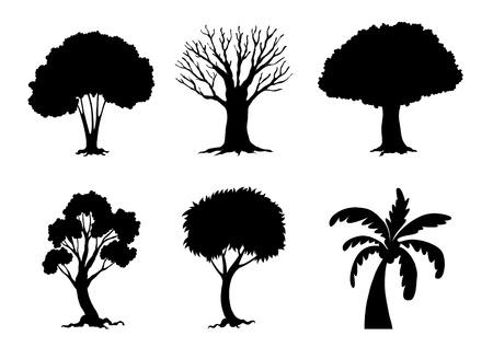bomen zwart wit: Illustratie van de boom en plant silhouetten Stock Illustratie
