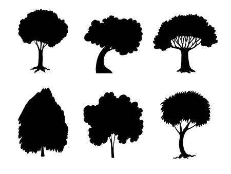 Illustration of tree and plant silhouettes Stock Vector - 13930781