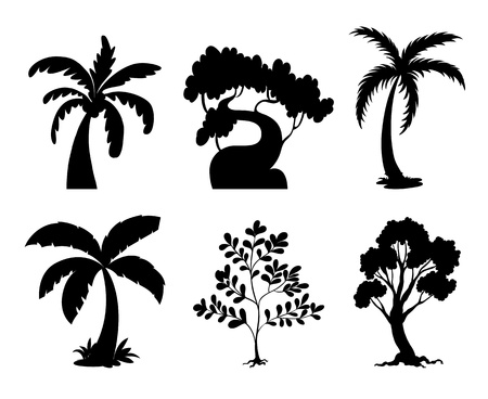 tree silhouettes: Illustration of tree and plant silhouettes Illustration