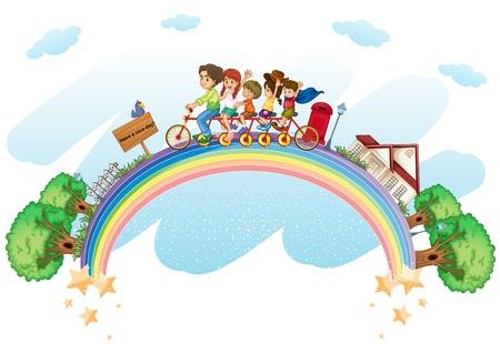 familias unidas: Ilustración de un concepto de familia