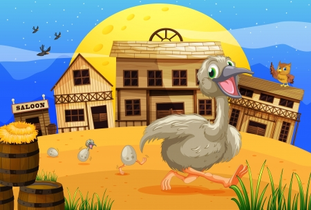 Illustration of an ostrich running through wild west town