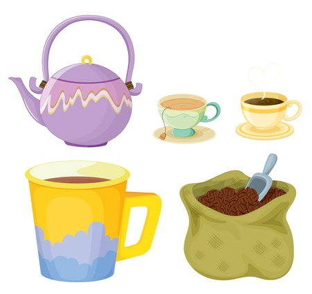coffee sack: Illustration of tea and coffee items