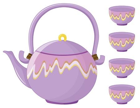 chinese tea cup: Ilustraci�n de un juego de t� de Asia