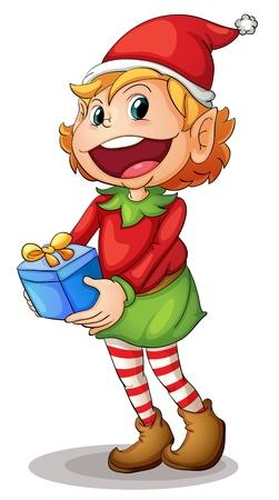 elfos navideÑos: Ilustración de un duende de Navidad