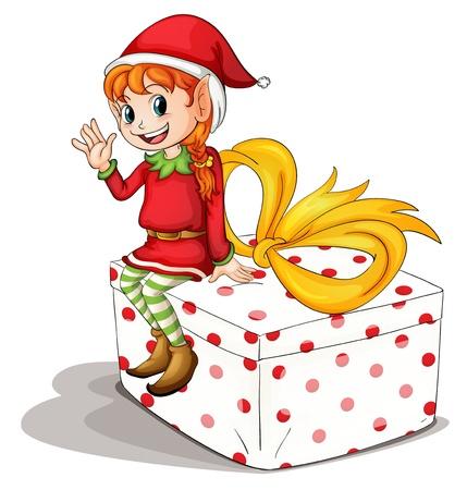 cartoon elfe: Illustration eines Weihnachtself