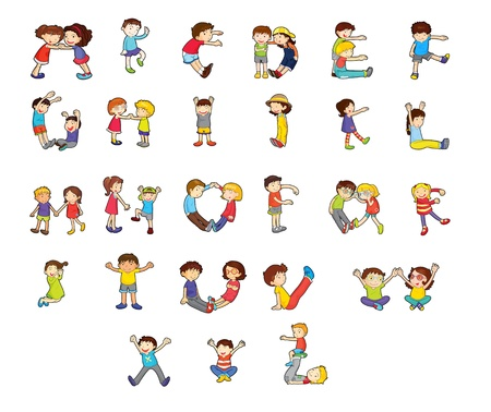alphabet kids: Illustration of an alphabet set