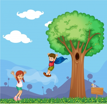 Ilustración de un niño tratando de volar