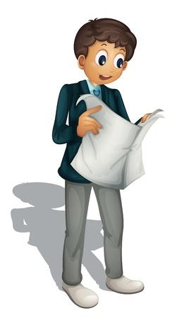 Illustration d'un homme d'affaires d'animation sur fond blanc Vecteurs