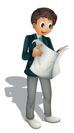 person reading: Illustration of an animated business man on white