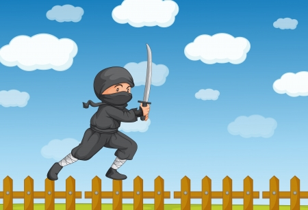Illustration of a ninja on a fence Vector