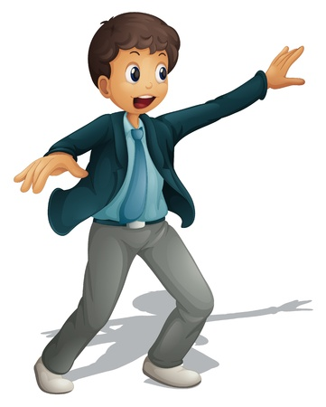 young man standing: Illustration of an animated business man on white