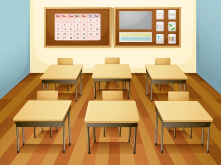 desk tidy: illustration of an empty classroom