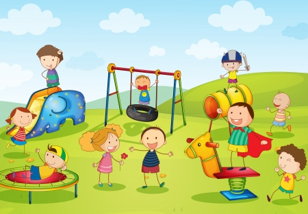 kids playing outside: Illustration of kids playing at the park Illustration