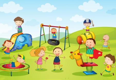 familia parque: Ilustraci�n de los ni�os jugando en el parque