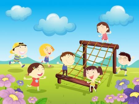 lawn: Illustratie van kinderen spelen op het park