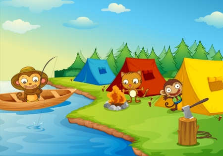 Illustration of camping animal characters Vector