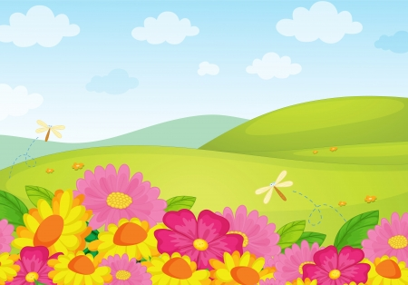 rolling hills: Illustration of an empty flower background