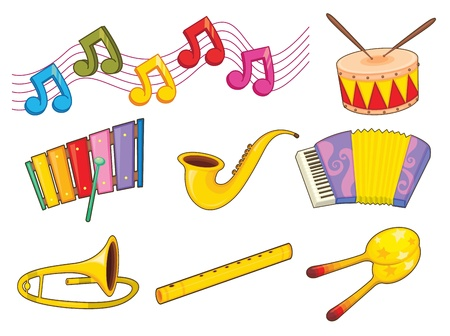 musical note: Illustration of mixed musical instruments Illustration