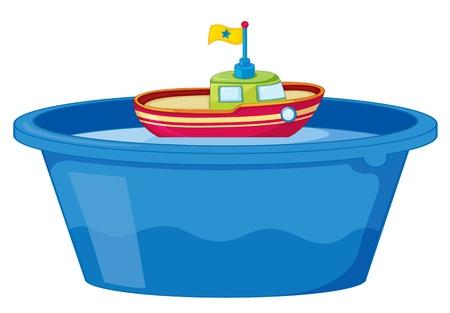 seau d eau: Illustration d'un bateau de jouet dans la baignoire d'eau