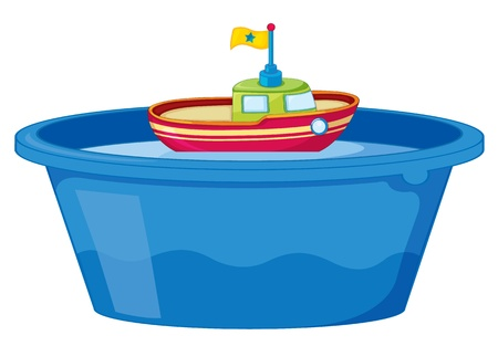 bath tub: Illustration of a toy boat in tub of water