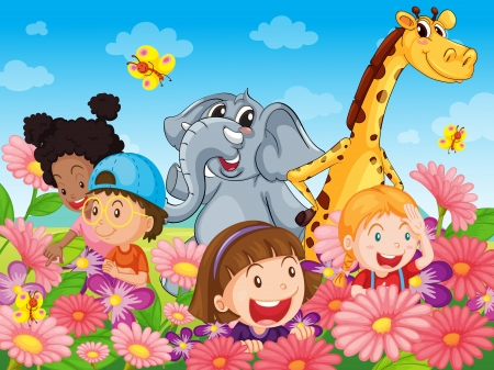 illustration zoo: Illustrazione di bambini con gli animali