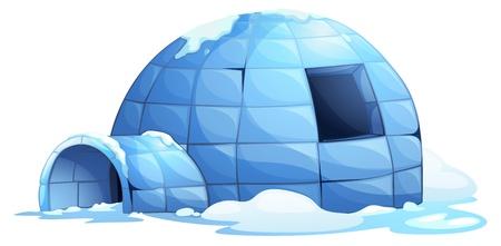 illustratie van een iglo op wit