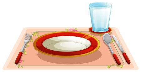 table cloth: illustration of a set table Illustration