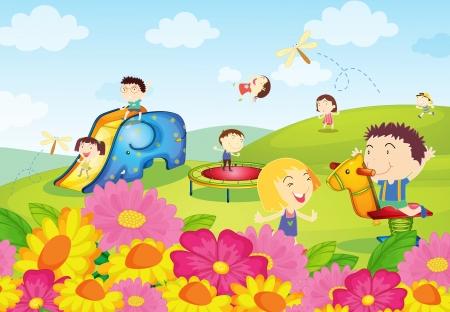 convivencia escolar: Ilustración de los niños jugando en el parque