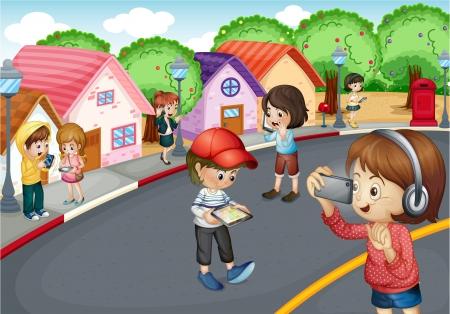 neighbourhood: Illustration of kids using electronic gadgets