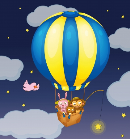 Illustration of animals in a balloon Vector