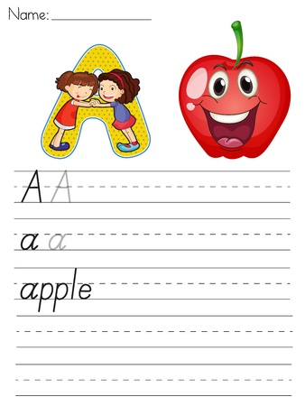 manzana caricatura: Alfabeto de hoja de cálculo de la letra A