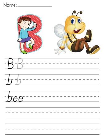 文字 B の文字のワークシート