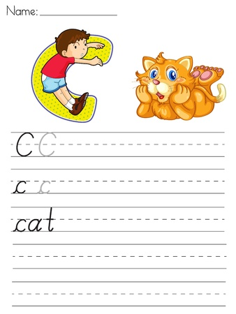 writing letter: Alphabet worksheet of the letter C