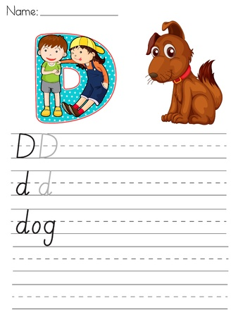 Alphabet worksheet of the letter D Vector