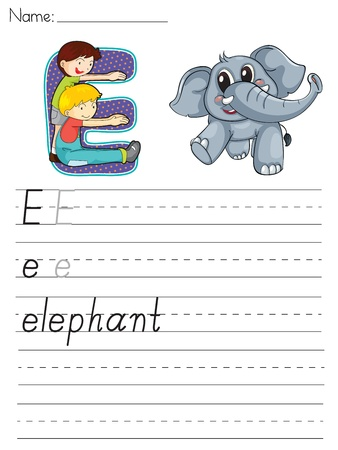 paper spell: Alphabet worksheet of the letter E Illustration