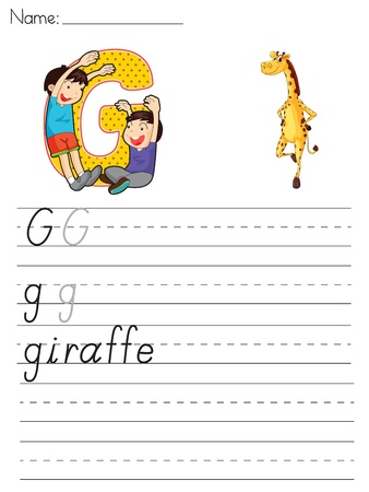 paper spell: Alphabet worksheet of the letter G Illustration