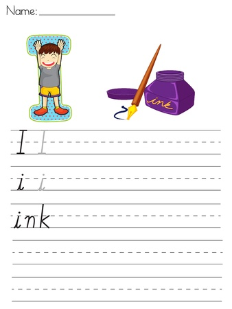 Alphabet worksheet of the letter I Vector