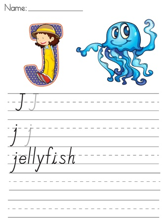 write a letter: Alphabet worksheet of the letter J