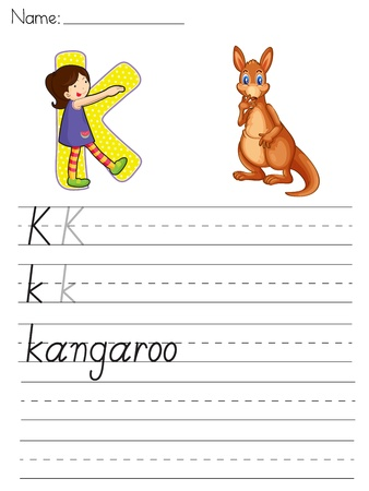 paper spell: Alphabet worksheet of the letter K Illustration
