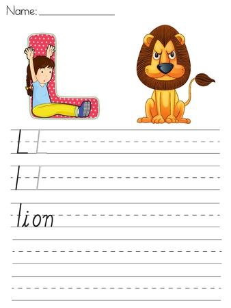 Alphabet worksheet of the letter L Vector