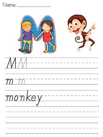 Alphabet worksheet of the letter M Vector