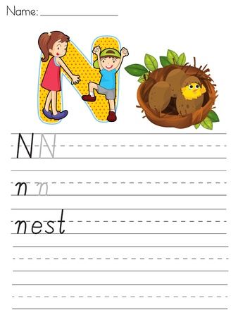 writing letter: Alphabet worksheet of the letter N