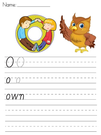 paper spell: Alphabet worksheet of the letter O Illustration