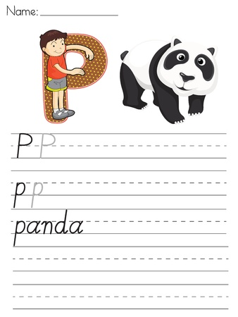 Alphabet worksheet of the letter P Vector