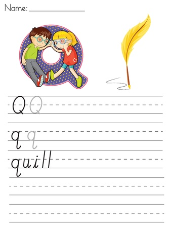 paper spell: Alphabet worksheet of the letter Q Illustration