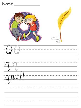 q: Foglio Alfabeto della lettera Q Vettoriali